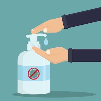 Use a ilustração de design plano de desinfetante para as mãos, as pessoas usam desinfetante para as mãos e o sinal de stop corona