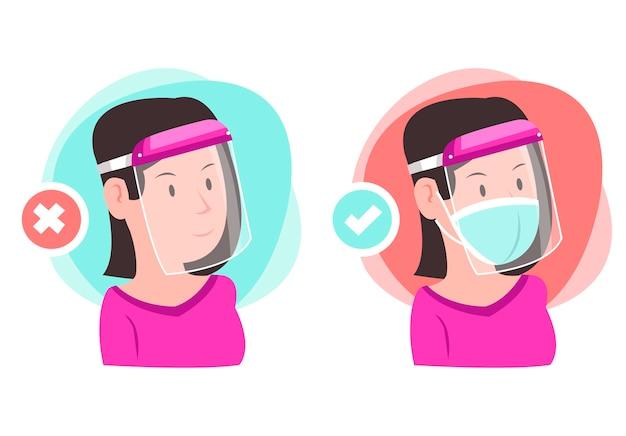 Use a proteção facial corretamente. um exemplo de uso de uma proteção facial. uma mulher está dando um exemplo de como usar uma proteção facial corretamente