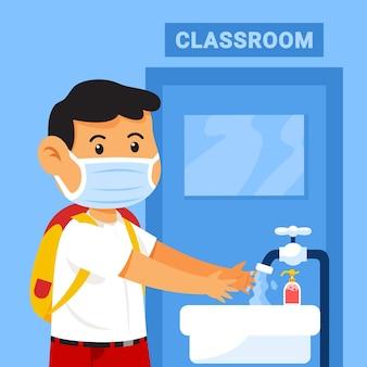 Use máscara e lave as mãos antes de entrar na sala de aula para prevenir a infecção da gripe.