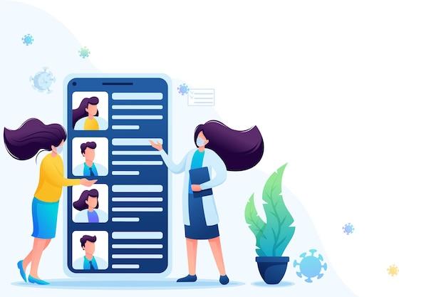 Use o aplicativo móvel para procurar um médico. mantém distância social e usa máscaras. 2d plano. ilustração vetorial para web design.
