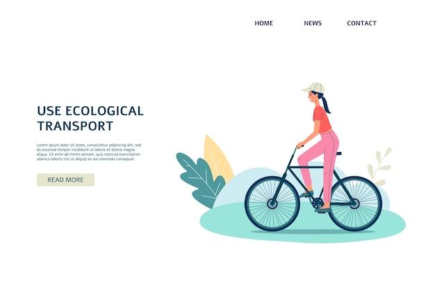 Use o transporte ecológico - banner com uma garota andando de bicicleta, isolada no fundo branco. mulher de desenho animado usando bicicleta pela ecologia
