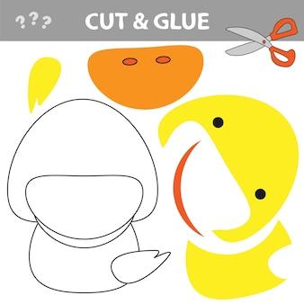 Use tesoura e cola e restaure a imagem dentro do contorno. jogo de papel educativo fácil para crianças. aplicativo infantil simples com pato