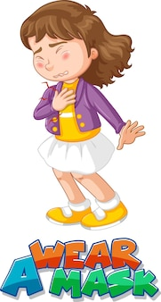 Use uma fonte de máscara de desenho animado com uma personagem de menina se sentindo mal isolada no branco