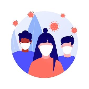 Use uma ilustração em vetor máscara conceito abstrato. medidas de prevenção de disseminação de vírus, distância social, risco de exposição, sintomas de coronavírus, proteção pessoal, metáfora abstrata de medo de infecção.