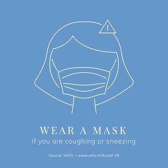 Use uma máscara de mensagem de alerta de coronavírus Vetor grátis