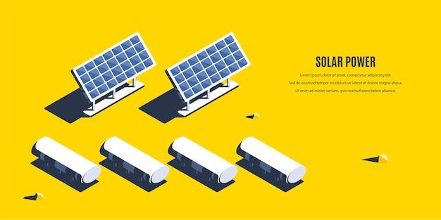Usina de energia solar isométrica. conceito 3d de energia renovável