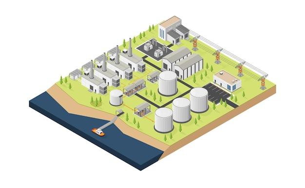 Usina de óleo diesel para energia a óleo diesel com estilo isométrico