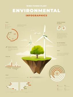 Usina eólica poligonal com uma árvore em infográficos de ilha flutuante