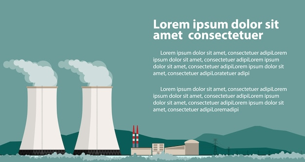 Usina nuclear e fábrica.