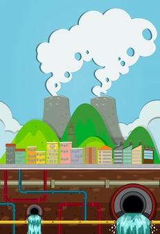 Usina nuclear e sistema subterrâneo de água