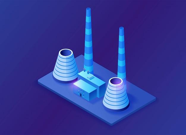 Usina termelétrica 3d ilustração isométrica