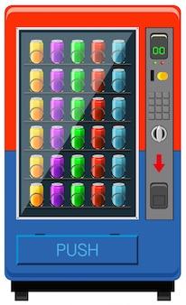 Usinagem de venda automática nas cores vermelho e azul