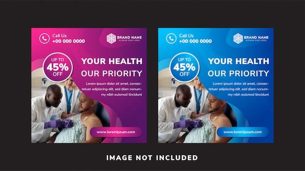 Uso de banner em mídias sociais, sua saúde é nossa prioridade como exemplo de manchete.