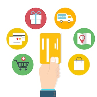 Uso de cartão, conceito de shoping on-line