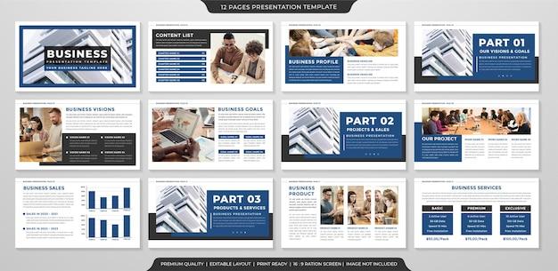 Uso de modelo de layout de apresentação de negócios minimalista para relatório anual