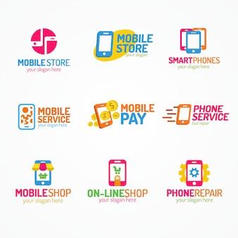 Uso do estilo de cor do conjunto de logotipo do telefone para loja e serviço de smartphones