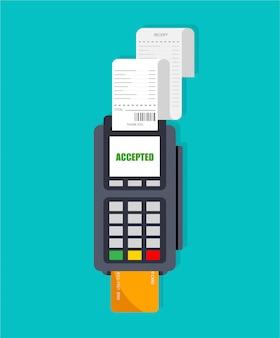 Uso do terminal pos. slot da máquina com recibo. pagamento aceito com cartão de crédito e pin inserido. isolado.