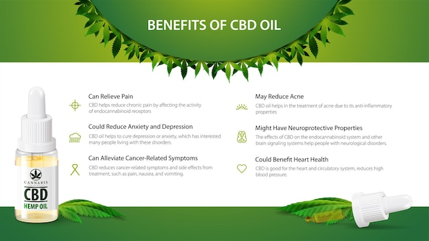 Usos médicos para óleo cbd, benefícios do uso de óleo cbd. banner verde e branco com frasco de vidro de óleo cbd, folha de cânhamo e pipeta.