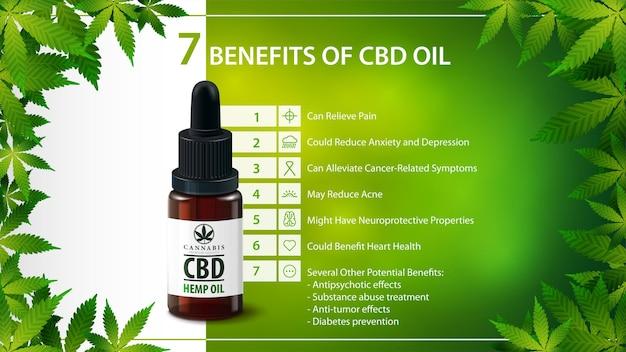 Usos médicos para óleo cbd, benefícios do uso de óleo cbd. pôster verde com garrafa de vidro de óleo cbd