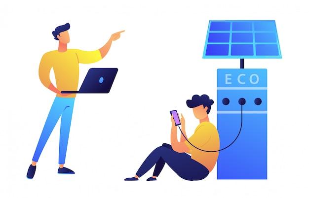 Usuário cobrando smartphone da estação de recarga solar e programador com ilustração vetorial de laptop.
