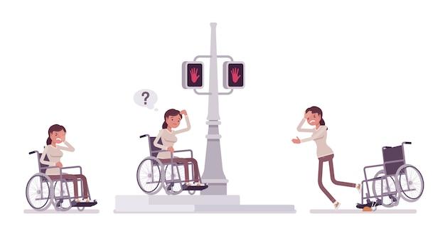 Usuário de cadeira de rodas jovem feminino em emoções de rua cidade negativa. problemas da cidade e desvantagens. deficiência, conceito de política médica. estilo cartoon ilustração, fundo branco.