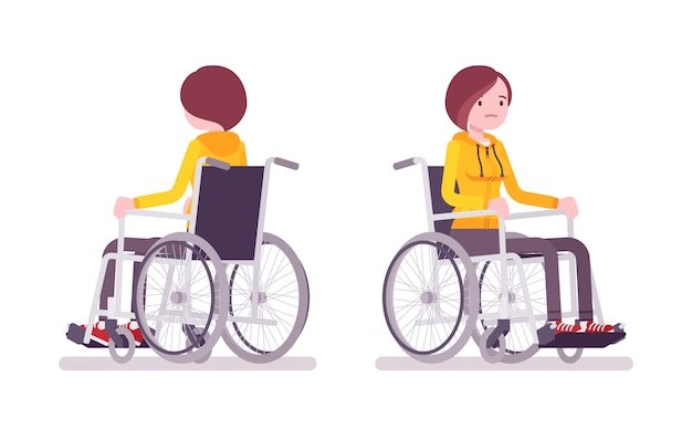 Usuário de cadeira de rodas jovem feminino