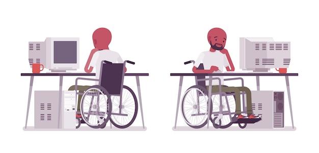 Usuário de cadeira de rodas jovem preto masculino no computador. sonhando com trabalho produtivo online. deficiência, conceito de política social. estilo cartoon ilustração, fundo branco. vista frontal, traseira