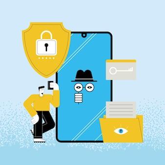 Usuário de tecnologia de cibersegurança em smartphone