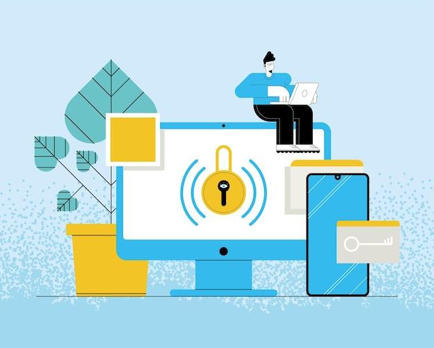 Usuário de tecnologia de segurança cibernética em desktop