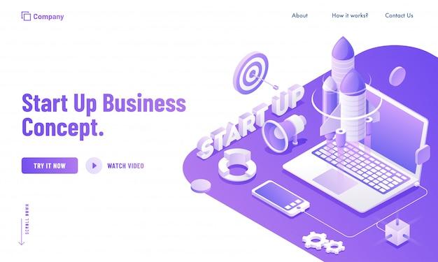 Usuário on-line iniciando seu projeto pelo aplicativo de serviço de laptop e smartphone para o design do site do conceito start up business.