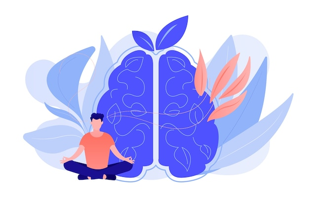 Usuário praticando meditação mindfulness na pose de lótus. meditação consciente, calma mental e autoconsciência, focando e liberando o conceito de estresse. ilustração isolada em vetor.