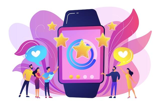 Usuários com corações gostam de um smartwatch enorme com estrelas de avaliação. smartwatch de luxo, relógio de moda e conceito de estilo de vida de luxo em fundo branco. ilustração isolada violeta vibrante brilhante