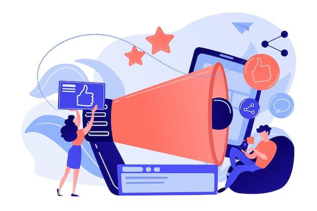 Usuários com curtir e compartilhar ícones e megafone. como sorteio de compartilhamento de comentários, promoção de redes sociais, como conceito de agricultura em fundo branco.