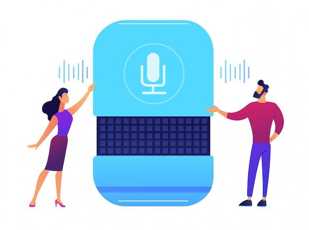 Usuários dando comandos de voz para ilustração em vetor alto-falante inteligente.