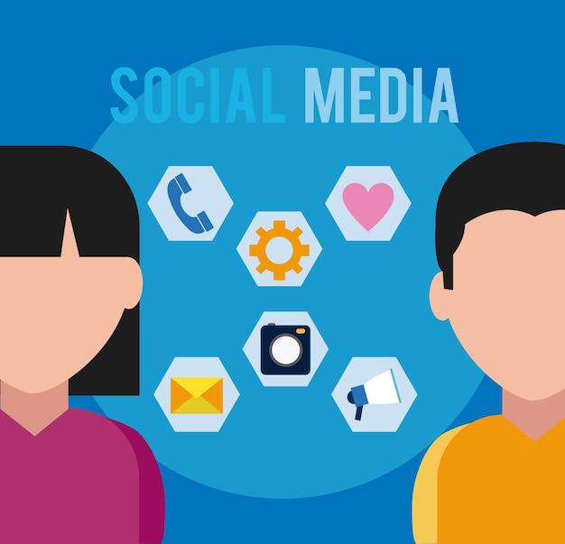 Usuários de mídia social com símbolos redondos