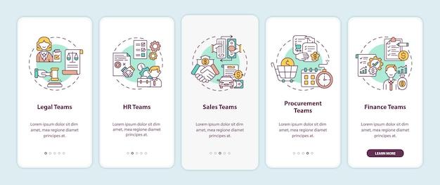 Usuários de software de gerenciamento de contratos que integram a tela da página do aplicativo móvel com conceitos