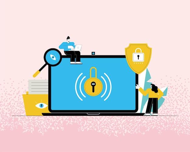 Usuários de tecnologia de cibersegurança em laptop