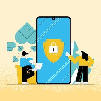 Usuários de tecnologia de cibersegurança em smartphone