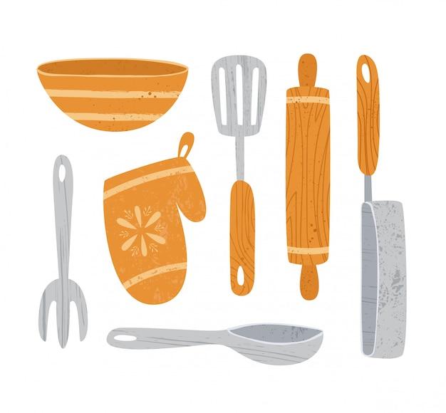 Utensílio de cozinha ou utensílios de cozinha elementos de design - colher, tigela, rolo de forquilha, pan isolado no branco