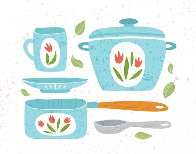 Utensílio de cozinha ou utensílios de cozinha elementos de design cozinhar panela, caneca, colher isolado no branco -
