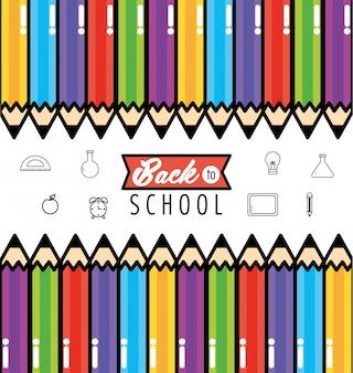 Utensílios das cores dos lápis para suportar o fundo da escola