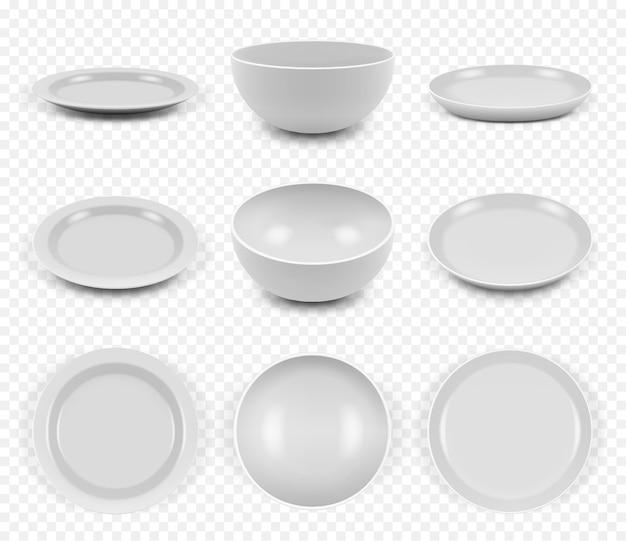 Utensílios de cerâmica. cozinha elegante pratos vazios pratos tigelas para conjunto de coleta de alimentos.