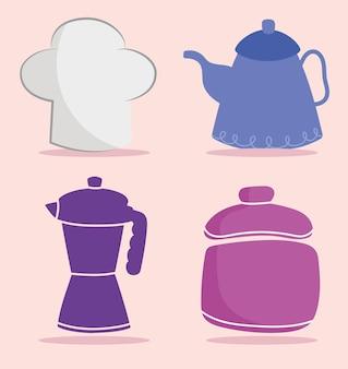 Utensílios de cozinha chapéu chef chaleira pote cartoon ilustração plana ícone