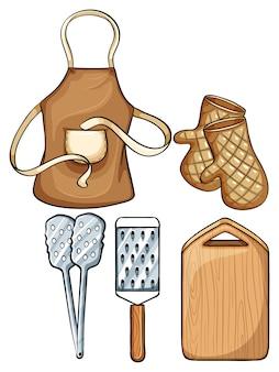 Utensílios de cozinha com avental e ilustração de mittens