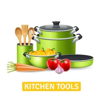 Utensílios de cozinha com legumes