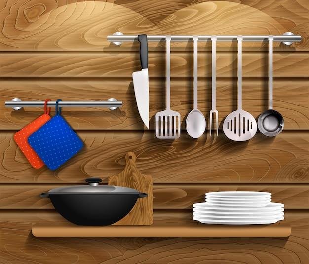 Utensílios de cozinha com utensílios de cozinha. prateleira na parede de madeira com utensílios, placa de madeira e panela. vetor