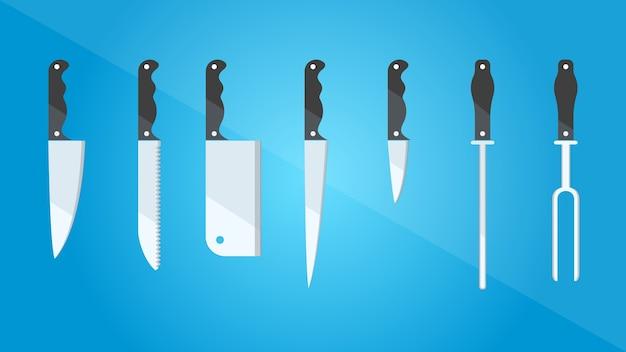 Utensílios de cozinha. conjunto de diferentes tipos de facas. estilo plano. ilustração do vetor