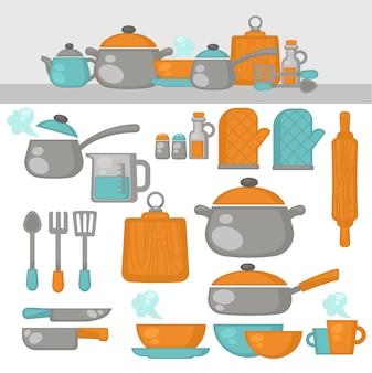 Utensílios de cozinha conjunto de pratos. equipamento de cozinha