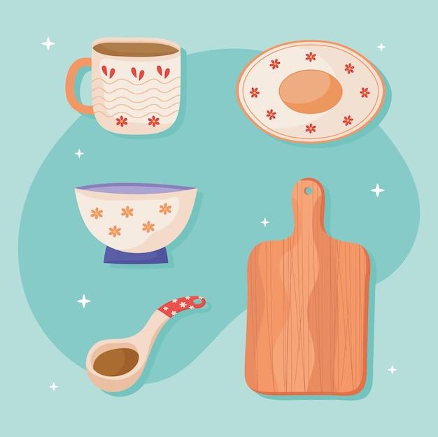 Utensílios de cozinha de cerâmica de ícones