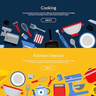 Utensílios de cozinha de estilo plano banners web horizontais ou ilustração de página de destino